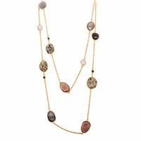 Carousel Jewels Black Onyx Dendrite Smoky Quartz And Pearl Chain Necklace Gold