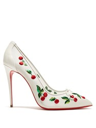 Christian Louboutin Cherry 100Mm Embellished Pumps White Multi