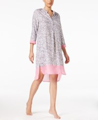 Dkny Chiffon Trimmed Sleepshirt Grey Animal