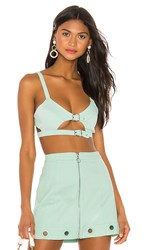 For Love And Lemons Creme Puff Bra Top In Mint. Bluebell