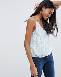 Asos Sequin Cami Top With Raw Edge Detail Pale Blue