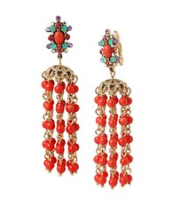 Betsey Johnson Coral Bead Chandelier Clip On Earrings Red
