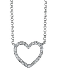 Effy Pave Classica 14Kt. White Gold And Diamond Open Heart Necklace