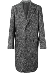 Dolce And Gabbana Single Breasted Tweed Coat Black