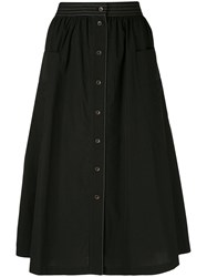 Tomas Maier Button Front Midi Skirt Black