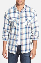 True Grit 'Harley' Plaid Cotton Flannel Shirt Blue Natural