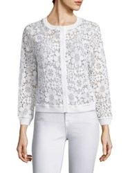 Saks Fifth Avenue Floral Lace Cardigan Navy White Black