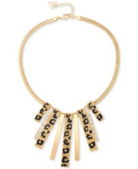 Guess Gold Tone Animal Look Stick Collar Necklace