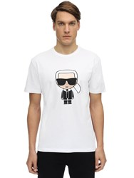 Karl Lagerfeld K.L. Embroidered Cotton Jersey T Shirt White