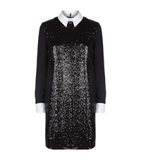 Victoria Beckham Sequined Contrast Collar Dress Female Black