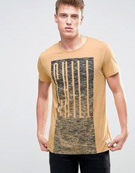 Esprit T Shirt With Chill Print And Raw Hems Beige