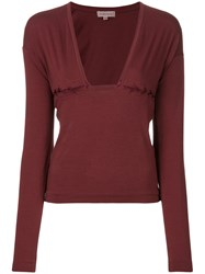 Romeo Gigli Vintage Lace Up Detail Blouse Red