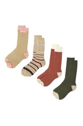 Lucky Brand Assorted Crew Cut Socks Pack Of 4 Brown