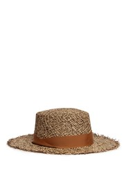 Sensi Studio Frayed Tweed Effect Toquilla Straw Boater Hat Neutral