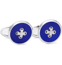 Dunhill Button Sterling Silver Enamel Cufflinks Silver