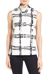 Women's Bobeau Mock Neck Sleeveless Top White Black