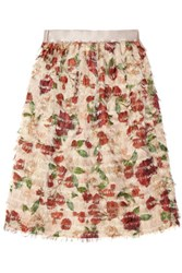 Mother Of Pearl Emelia Fringed Printed Voile Skirt Antique Rose