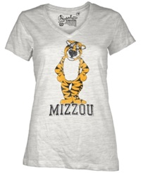Royce Apparel Inc Women's Short Sleeve Missouri Tigers V Neck T Shirt White