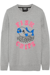 Markus Lupfer Fish And Chips Sequin Embellished Cotton Jersey Sweatshirt Gray