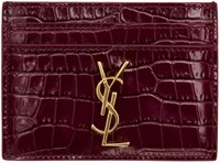 Saint Laurent Burgundy Croc Embossed Monogram Card Holder