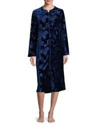 Karen Neuburger Velvet Floral Zip Up Robe Navy