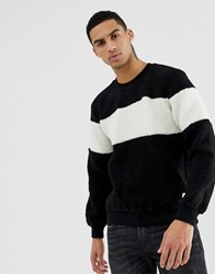 Hymn Sherpa Chest Stripe Sweatshirt Black