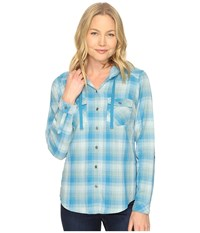 Columbia Times Two Hooded Long Sleeve Shirt Deep Marine Plaid Women's Long Sleeve Button Up Blue