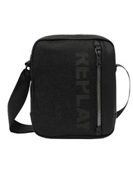 Replay Faux Leather And Denim Shoulder Bag Black