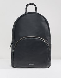 Asos Design Backpack In Leather In Black With Plait Handle And Foil Logo