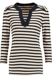 Tory Burch Lizzy Striped Cashmere Sweater Neutral
