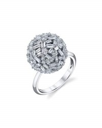Borgioni Mixed Cut Diamond Ball Ring In 18K White Gold