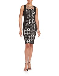 Jax Crisscross Sheath Dress Black Ivory