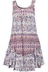 See By Chloe Tiered Printed Cotton Mini Dress Multi