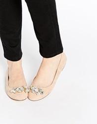 Oasis Embellished Flat Ballerina Shoes Nude