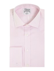 T.M.Lewin Men's Tm Lewin Stripe Non Iron Slim Fit Formal Shirt Pink