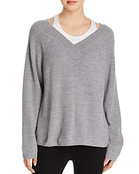 Alexander Wang T By Layered V Neck Sweater Heather Grey