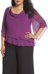 Alex Evenings Plus Size Embellished Tiered Chiffon Top Vintage Plum
