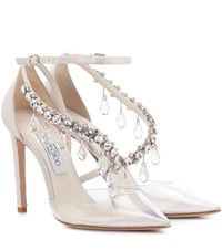 Jimmy Choo X Off White Victoria 100 Embellished Satin Pumps