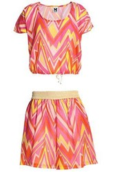 M Missoni Woman Printed Cotton Mousseline Top And Shorts Set Pink