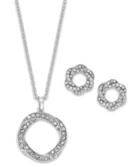 Charter Club Pave Crystal Twisted Necklace And Earrings Set Silver