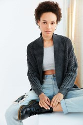 Ecote Acid Wash Cable Cardigan Charcoal