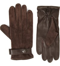 Reiss Chief Suede And Leather Gloves Brown