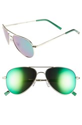 Women's Polaroid Eyewear 56Mm Polarized Aviator Sunglasses Gold Green Mirror Polarized
