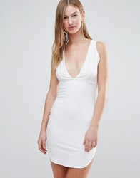 Daisy Street Plunge Front Bodycon Dress White Gold