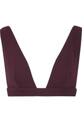 Zimmermann Ribbed Triangle Bikini Top Burgundy