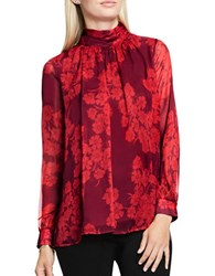 Vince Camuto Long Sleeve Ruched Blouse Red
