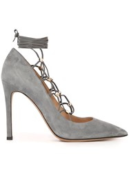 Valentino 'Rockstud' Lace Up Pumps Blue