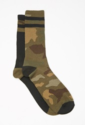 Forever 21 Camo Patterned Crew Socks Black Olive