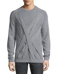 Helmut Lang Cable Cashmere Crewneck Sweater Heather Gray