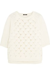Raoul Open Knit Cotton Blend Sweater White